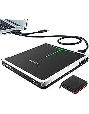 External Bluray DVD Drive, USB 3.0 USB-C Portable Blu-ray CD DVD+/-RW Burner Drive Slim BD/CD ROM Player Recorder for Laptop Mac MacBook Windows Desktop PC