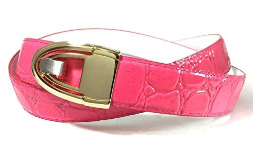 EDNA Bonded Leather Crocodile Skin Print Dress Belt Hot Pink (Faux Crocodile Belt)