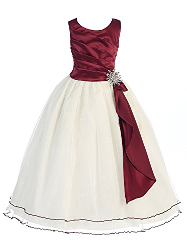 Girls Chic Baby Surplice Double Layer Girl Dress-Burgundy-4-(CB303)
