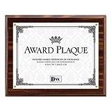 Award Plaque, Wood/Acrylic Frame, Up to 8 1/2 x 11, Walnut (8 Pack)