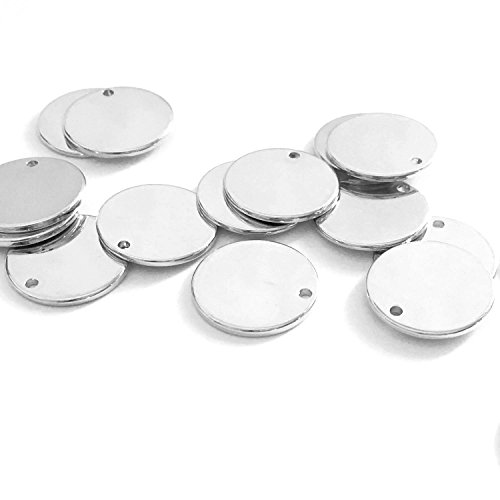 10 Pieces - 16K Silver Plated Coin Disc Charm Round Stamping Blank Tag Metal Jewelry Making Supply Blank Initial Charm Holiday Gift .5