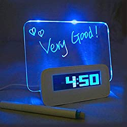LVOERTUIG Digital Message Board Clock,LED Bedside Alarm Clock Travel Clock Alarm,LCD Display Digital Desktop Office Desk Clocks Bedroom Bedside Alarm Clock Timer (Blue Light (A Style))