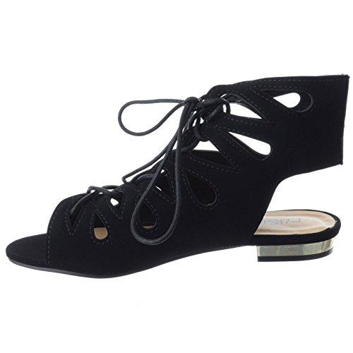 Talon Chaussures Lacet Sandales Plat Bas Noir Femmes Découpe Pointure Synthétique Daim Gladiateur Été nqZEFwddx8