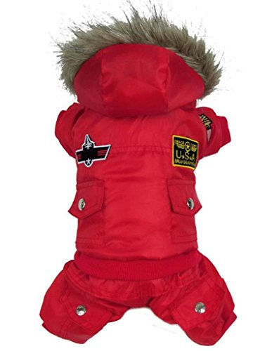 Pineocus Small Dog Apparel Airman Fleece Winter Coat Snowsuit Hooded Jumpsuit Waterproof Coat(for dog Like Poodle, Pinscher, Shih tzu,Chihuahua, Size Runs Small One to Two Size Than US Size) Red XL