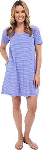 Fresh Produce Women's Pinstripe Allure T-Shirt Dress Peri Blue Dress (Pocket Dress Pinstriped Shirt)