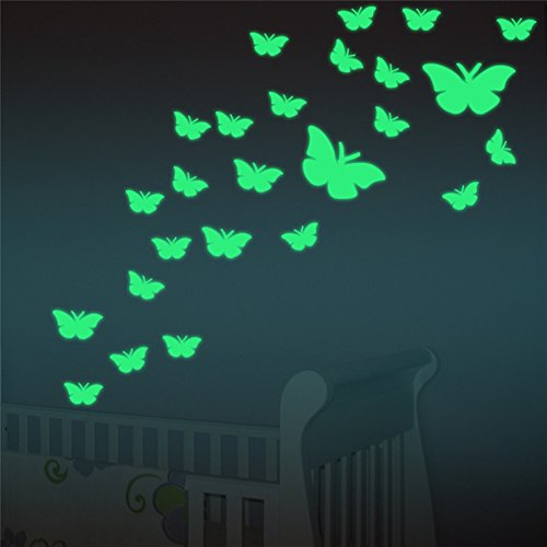 FLY SPRAY Creative Luminous Wall Decorative 12pcs Butterfly Stickers Glow in the Dark Light Decor Removable Decals Mural Wall Art Kids Bedroom (Upscale Decor Home Catalogs)