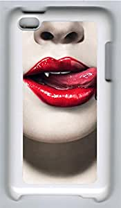 iPod 4 Cases & Covers - Sexy Vampire Mouth Closeup Custom PC Soft Case Cover Protector for iPod 4 - White