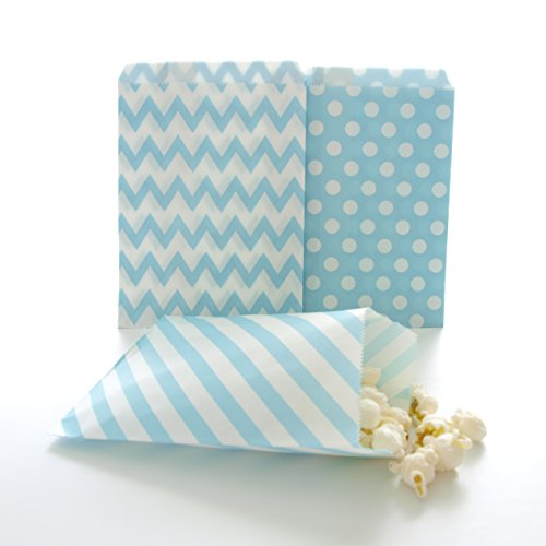 Blue Candy Bags, Birthday Goody Bag Ideas, Winter Frozen Snowflake Gift Bags, Favor Bags, 75 Pack - Light Blue Striped, Polka Dot & Chevron Bags -