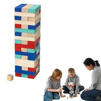 Spiel Gesellschaft Steine stapelbar Turm 54 Stück aus Holz mit ...