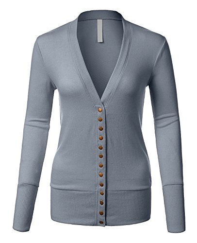 Luna Flower GCDW027 Women's Long Sleeve Ribbed Knit Snap Buttons Closure Cardigan With Deep V-Neckline Ash_Blue - Knit Ribbed Womens Cardigan