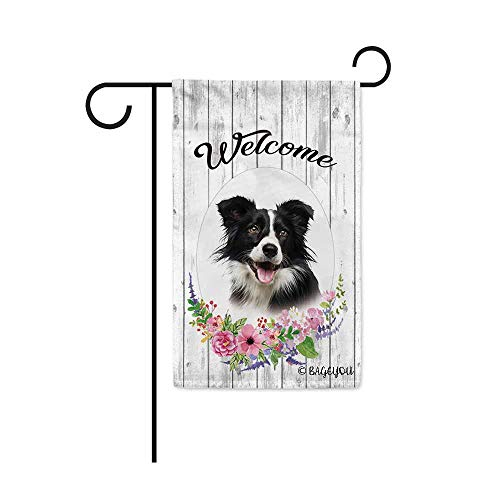 Border Collie Flag - BAGEYOU Welcome Spring Summer Flowers Cute Dog Border Collie Decorative Garden Flag Lovely Puppy Floral Seasonal Home Decor Banner for Ourside 12.5X18 Inch Print Double Sided