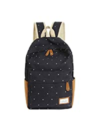 Bessky Women Girls Students Backpacks Double-Shoulder Canvas Dots Schoolbag