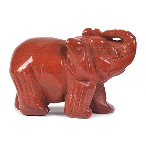 Carved Natural Red Jasper Gemstone Elephant Healing Guardian Statue Figurine Crafts 2 inch ()