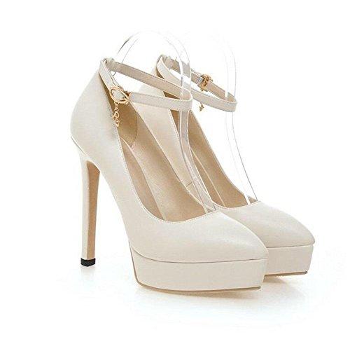 XIE Zapatos de Mujer Corte Zapatos de Damas de la Boda Oficina Smart Hebilla Delgada con Zapatos de Tacón Alto de la Plataforma a Prueba de Agua, Beige, 39 BEIGE-37