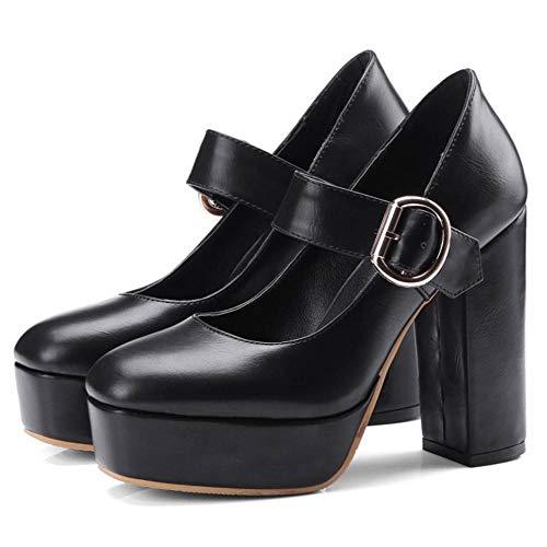 Bride Plateforme Janes Cheville Femmes Taoffen Mary Talons Black Hauts Escarpins Chaussures 8U5wRY