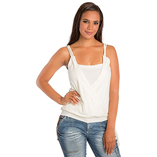 (Sweet Vibes Junior Womens Tank Tops Stretch Jersey Surplice Braided Straps Size L Beige)