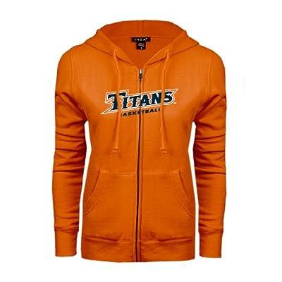 Cal State Fullerton ENZA Ladies Orange Fleece Full Zip Hoodie 'Basketball'
