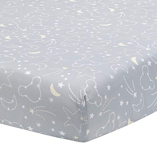 Disney Baby Mickey Mouse Gray/Yellow Celestial Fitted Crib Sheet by Lambs & -