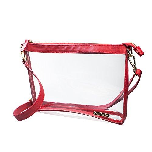 Capri Designs Large Crossbody Purse - Red & Clear Premium Crossbody Bag by Capri Designs