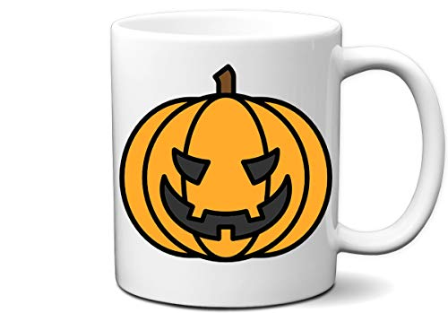 Jack O Lantern Halloween Pumpkin Costume White 11 Ounce Coffee Mug | Great Gift for Halloween Party, Pumpkin Lovers and Everyone by Hot Ass Tees ()