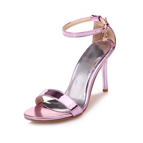 ANDERDM Women Sandals Ankle Buckle Summer Thin High Heel Shoes Patent Leather Sexy Dress Party Wedding Shoes]()