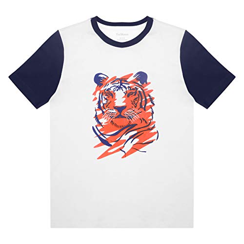 TaiMoon Boys'Waves Tiger Printing Round Collar Contrast Color Short Sleeve T-Shirt (XL, White7) -