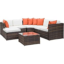Leisure Zone 5-Piece Patio Furniture Set Outdoor Sectional Conversation Set with Soft Cushions (Cushion Beige)