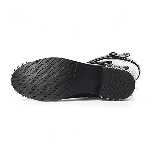 HAOLIEQUAN Frauen High Heels Stiefel Stiefel Stiefel Niet Schnalle Motorrad Schuhe Frauen Warm Winter Kniehohe Stiefel Größe 34-39 4dd1cf