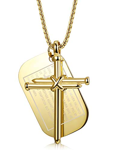 Finrezio Stainless Steel Dog Tags Nail Cross Necklaces for Men Prayer Cross Necklace Military Rolo Chain 3mm 24 inch (Gold-Tone) ()