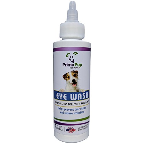 - Primo Pup Vet Health - Eye Wash for Dogs - Removes Debris, Cleans Eyes, Relieves Irritation and Prevents Tear Stains - 4 Fluid Ounces