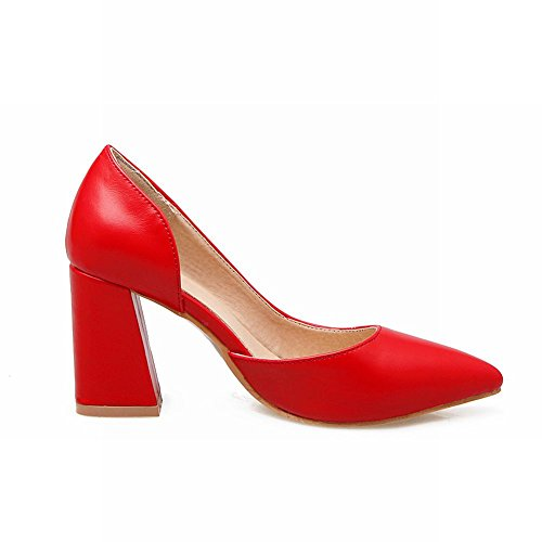 Latasa Womens Fashion Pointed Toe Dorsay Pump Shoes Red qQPpS8A