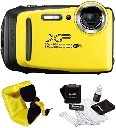 FujiFilm FinePix XP130 Rugged Waterproof WiFi Digital Camera (Yellow) + Focus Floating Strap Bundle