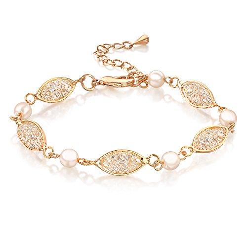 Mytys Gold Mesh Cubic Zirconia Crystal Beaded Tennis Fashion Bracelets