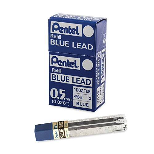 Pentel Refill Lead Blue (0.5mm) Medium 12 Pcs/Tube, 12 Tubes of Lead (PPB-5)