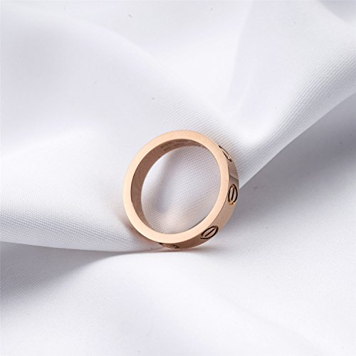 BESTJEW Rose Gold Love Screw Ring Engagement Wedding Couples Band Titanium Stainless Steel Size 8 by BESTJEW (Image #4)