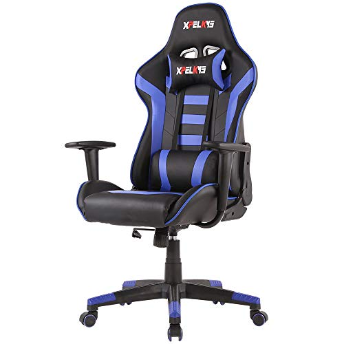 XPELKYS Gaming Chair Computer Game Chair Video Game Chair Racing Style High Back PU Leather Chair Executive and Ergonomic Style Swivel Chair with Headrest and Lumbar Support (Blue-09)