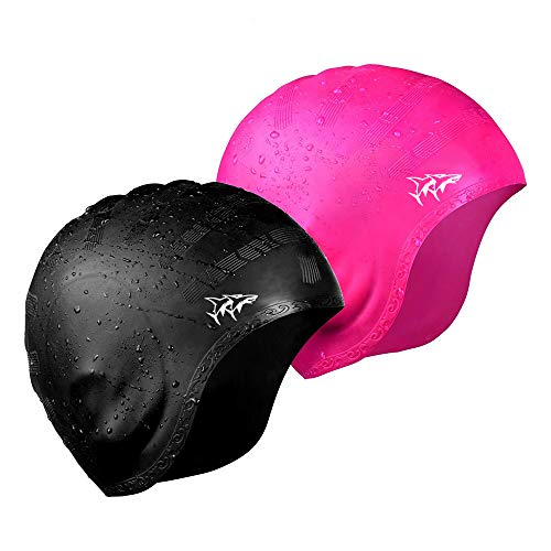 Swim Cap for Long Hair 2 Pack 2019 Thicker Design Solid Silicone Waterproof Swimming Caps for Woman Adults and Men (Black+Pink)