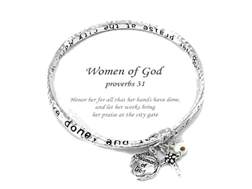 Silvertone Proverbs 31 Woman of God Inspirational Theme Beautiful Twisted Bangle Charm Bracelet (with Gift - Party Harry Costume City Potter