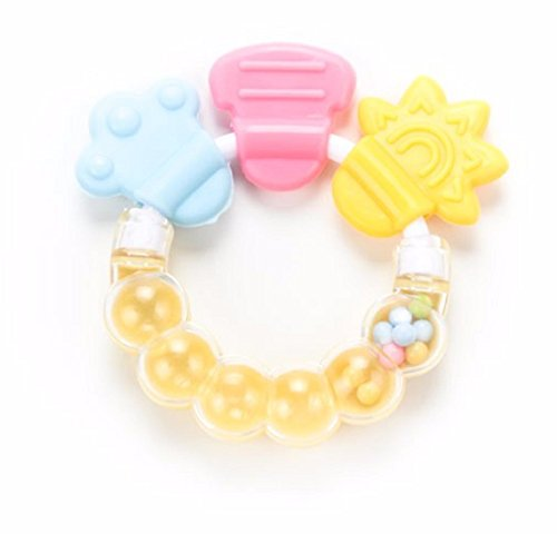 Pooh Bib With Hat Costumes (Hot Sale! 1Pcs Rattle Rings Teethers Silicone Baby Teether Massager Infant Training Tooth Cute Toddler Bell Toys Mordedor De Silicone (Light Yellow))