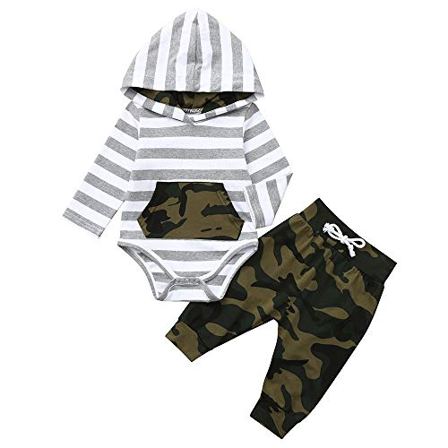 - GoodLock Baby Boys Girls Fashion Clothes Infant Long Sleeve Striped Hoodie Romper Jumpsuit+ Camouflage Pants Outfits 2Pcs (Gray, 3-6 Months)