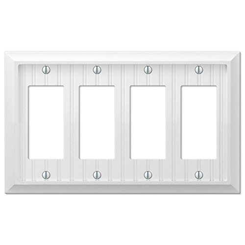 Cottage White Wood Quad Four GFCI Decora Rocker Wall Plate Outlet Cover - Light Quad Wall