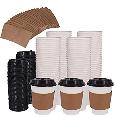ZMYBCPACK 12OZ/16 OZ Hot Paper Coffee Cups with Travel Lids Disposable Paper Cups for Coffee, Tea, Hot or Cold Beverage