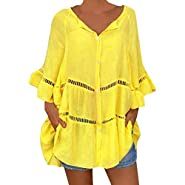 T Shirts for Women?Women's Plus Size Solid Cotton and Linen Hollow Out V-Neck Pullover Tops Shirt