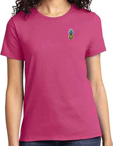 Ladies Pineapple Patch Pocket Print T-shirt, Sangria, 2XL