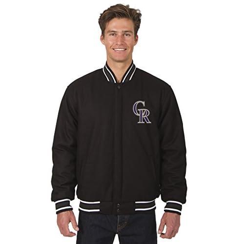 Hot Colorado Rockies MLB Jacket Wool Nylon Reversible Embroidered Logos free shipping