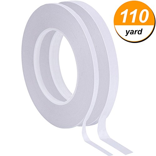 Hicarer 2 Rolls Double Sided Adhesive Tape White 2-Sided Sticky Tape for Scrapbooking, Photos, Invitation Cards, Paper and DIY Crafts, Each Roll 55 Yards Long (Width of 1/ 4 Inch (1 Roll Photo Paper)