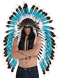 AMSCAN Native American Feather Headdress Deluxe Halloween Costume Accessories, One Size -