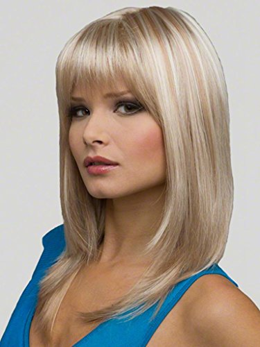 RainbowWigs Charming Long Light Blonde Straight Layered with Flat Bangs Hair Wig LC79 (Red Wig With Bangs)