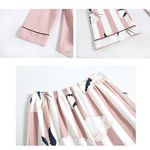 Zanzan Conjunto Algodón Tops Pink Y Pijamas De Cálido Estampado El Para Mujer Hogar Cómodo Servicio En rrzqdUxvwn
