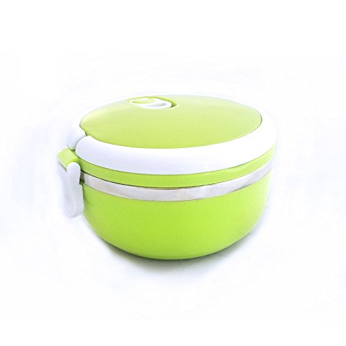Bento Lunch Box with Handle and Lid for Kids and Adults Leak-Proof Thermal Insulated Stainless Steel Food Container Tupperware BPA-Free (Green)